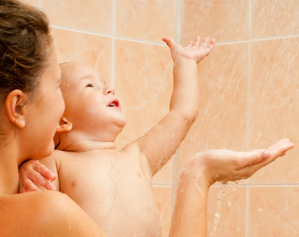 samen douchen met kind